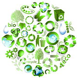 Eco end recycle symbols 