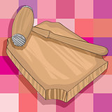 kitchen wooden hammer and cutting board