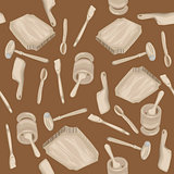 wooden kitchen tools pattern