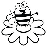 Bee standing on a flower in black and white