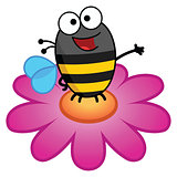 Bee standing on a flower in color