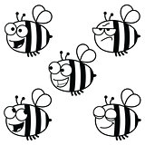 Set of cartoon bees-black and white