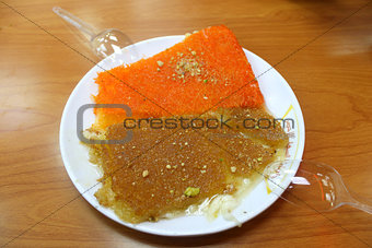 A dish of Kenafeh (may be spelled as funefe, kunaf