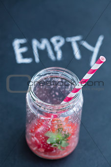 Empty smoothie glass