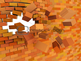 brick wall crashing