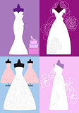 wedding dresses, bridal gowns, vector