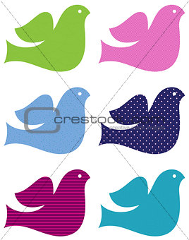 Colorful doves set isolated on white