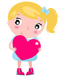 Cute blond little blond girl with pink heart isolated on white