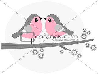 Cute bird couple on blossom branch - retro