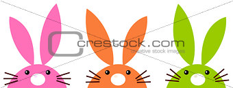 Cute simple easter bunnies set isolated on white