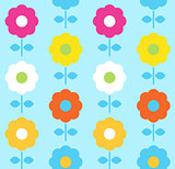 Spring flower seamless pattern vector design ( blue )