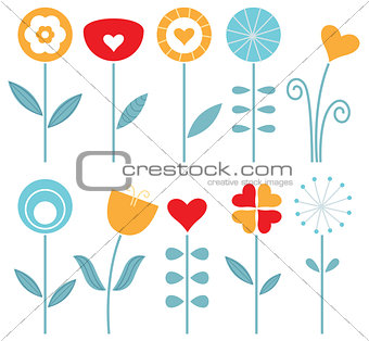 Retro spring flowers set isolated on white