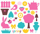 Cute spring and easter colorful design elements isolated on whit