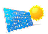 illustration of a panel with solar cells and reflection