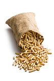 wooden pellets in jute sack