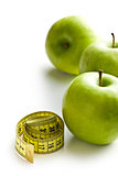 green apple and measuring tape