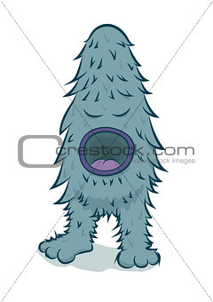 Vector furry blue monster