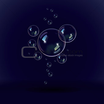 Soap bubbles on a black blue background