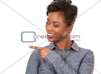 casual woman pointing