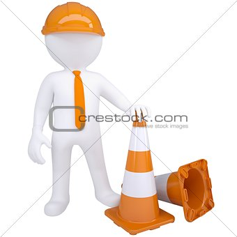 3d white man with traffic cones