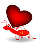 red ant and red heart
