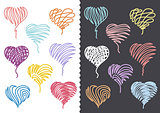 Color Hand Drawn Hearts Set