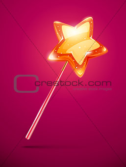 fairytale magic wand with shining star