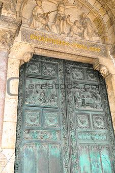The front door of Basilica Sacre Coeur, Paris