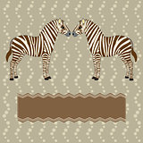 Zebra card with flower stripes