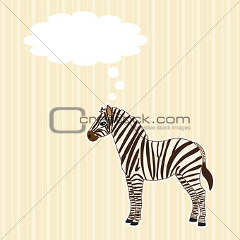 Greeting card with zebra