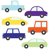 Set of vector cartoon cars
