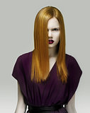 Stare. Exquisite Golden Hair Stylish Woman in Violet Dress. Arrogance