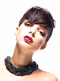 Portrait of Imposing Elegant Woman Brunette with Short Hair. Arrogance & Futurism
