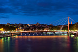 Bridge in Lyon at night