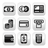 Money, atm - cash mashine vector buttons set