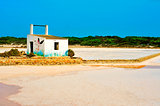 salt evaporation ponds in Ses Salines Natural Park in Formentera