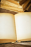 open old book on a wooden surface
