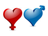 Venus and Mars Valentine&#39;s hearts