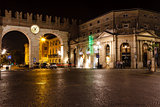 Medieval Gates in the Wall to Piazza Bra in Verona at Night, Ven
