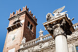 Piazza delle Erbe and Lion of Saint Mark in Verona, Veneto, Ital
