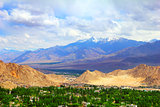 View of Leh valley, Ladakh range, India