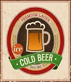 Vintage Cold Beer Poster.