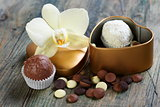 White Orchid and handmade chocolates.