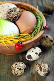 Easter eggs in a bowl on old wooden. 
