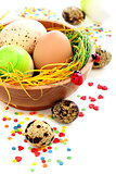 Colorful Easter eggs and cake decorations.