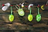 Easter eggs and feathers hanging on a rope.