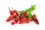 Red chili or chilli pepper and parsley leaves