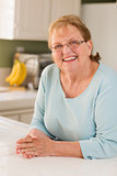 Portrait of Beautiful Senior Adult Woman in Kitchen