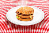 Hamburger on white plate