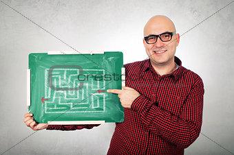 Man with labyrinth on chalkboard